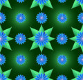 Blue flowers and green leaf seamless background Royalty Free Stock Image