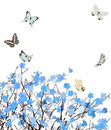 Blue flowers greeting card with floral ornament and butterflies Royalty Free Stock Photography