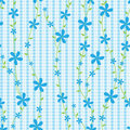 Blue Flowers And Lines Seamless Pattern_eps Royalty Free Stock Photo