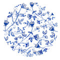 Blue flowers ornament beautiful vector with watercolor Royalty Free Stock Images