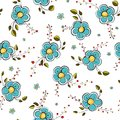 Blue Flowers Seamless Pattern Stock Photos
