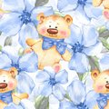 Blue flowers and Teddy Bear. Floral seamless pattern