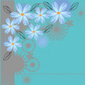 Blue flowers vector background with Royalty Free Stock Images