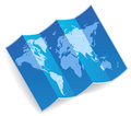 Blue folded world map vector illustration Stock Photos