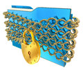 Blue folder with golden hinged lock Royalty Free Stock Photo
