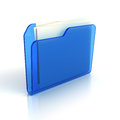 Blue folder icon d render Royalty Free Stock Photos