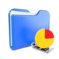 Blue Folder with Infograph Icon. Royalty Free Stock Photos