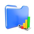 Blue Folder with Infograph Icon. Stock Image