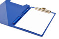 Blue folder with white sheet and pencil on it isolated Royalty Free Stock Photography