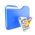 Blue Folder with Yellow Pencil. Royalty Free Stock Photo