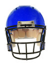 Blue football helmet front view in isolated over white background with clipping path Stock Photos