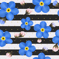 Blue forget me not flowers on the striped background seamless pattern with summer flowers dots and lines modern concept design Royalty Free Stock Photos