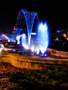 Blue fountains colored in bucharest beautiful capital Stock Photos