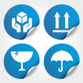 Blue fragile circle stickers and tags with dot fra icon handle care icon keep dry icon this side up icon Royalty Free Stock Photo