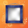 Blue frame colorful illustration with on a orange background for your design Stock Image