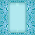 Blue frame with fancy floral pattern Royalty Free Stock Photo