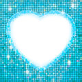 Blue frame in the shape of heart. Stock Images