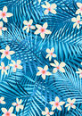 Blue frangipani vector illustration of tropical flowers and palm leaves Stock Photography