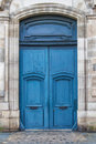 Blue french door Royalty Free Stock Photo
