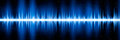 Blue frequency diagram of graphic audio equalizer for digital player abstract form of oscillating wave waveform chart on black Royalty Free Stock Photo