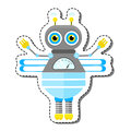 Blue Friendly Cartoon Bee Robot Character. Royalty Free Stock Photo