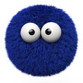 Blue furr ball with eyes isolated on white background Stock Photography