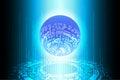 Blue Future Binary Globe Technology Background Royalty Free Stock Photo