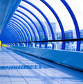 Blue futuristic corridor Royalty Free Stock Photo