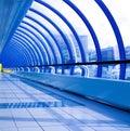 Blue futuristic corridor Royalty Free Stock Photo