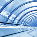 Blue futuristic corridor Stock Photos