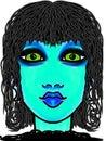 Blue gal beautiful with beautiful big green eyes Stock Image