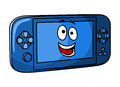 Blue game console in cartoon style isolated on white background for electronics concept design Royalty Free Stock Images