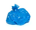 Blue garbage bag on a white background Stock Photo