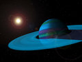 Blue gas giant planet with rings and sun in background lens flare Stock Image