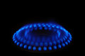 Blue gas stove flame Royalty Free Stock Photography