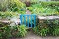 Blue gate in a wild garden Royalty Free Stock Photo
