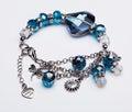 Blue gem bracelet with pendants Royalty Free Stock Photo