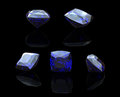 Blue gemstone of Square shape on  black.  Benitoit. Sapphire. Io Royalty Free Stock Photos