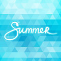 Blue Geometric Background with Text Summer