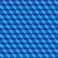 Blue geometric seamless cubes pattern background. Vector Royalty Free Stock Photo