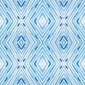 Blue Geometric Watercolor. Curious Seamless Pattern. Hand Drawn Stripes. Brush Texture. Lovely Chevr