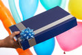Blue gift Stock Images