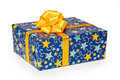 Blue gift box Stock Photos