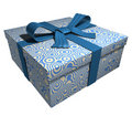 Blue gift box - blue ribbon Royalty Free Stock Photo
