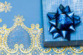 Blue gift box with bow Stock Photo