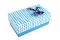 Blue gift box with a lid isolated. Stock Image