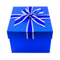 Blue Gift Box with Ribbon Stock Image