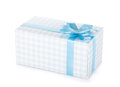 Blue gift box with ribbon and bow Royalty Free Stock Photo
