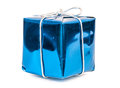 Blue gift box with silver ribbon Royalty Free Stock Photo