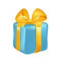 Blue gift box with yellow ribbon and bow isolated on white background. Vector illustration Royalty Free Stock Photo